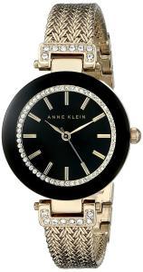 Đồng hồ Anne Klein Women's AK/1906BKGB Swarovski Crystal Accented Gold-Tone Mesh Bracelet Watch