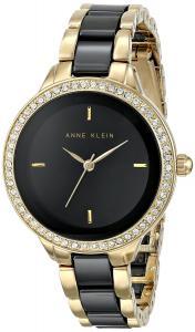 Đồng hồ Anne Klein Women's AK/1418BKGB Swarovski Crystal Accented Black Ceramic and Gold-Tone Bracelet Watch