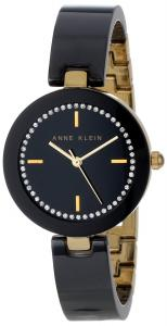 Đồng hồ Anne Klein Women's AK/1314BKBK Swarovski Crystal Accented Gold-Tone Black Ceramic Bangle Watch