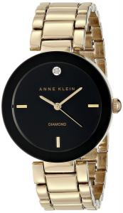 Đồng hồ Anne Klein Women's AK/1362BKGB Diamond Accented Black Dial Gold-Tone Bracelet Watch