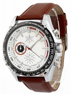 Đồng hồ nam Soleasy Men's High Quality Brown Leather Band Japanese Quartz Movement Wrist Watch WTH8072
