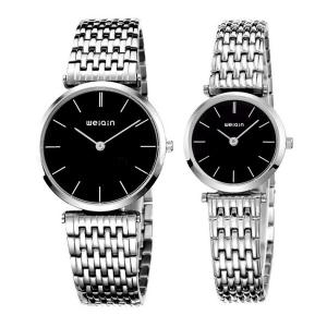 Readeel His-and-hers Imported Quartz Movement Stainless steel Waterproof Couple Watch for lover, Black Case&Silver Band