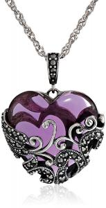 Sterling Silver Oxidized Marcasite and Amethyst Colored Glass Filigree Heart Pendant Necklace, 18""