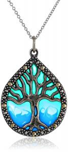 Sterling Silver Marcasite Epoxy Tree of Life Pendant Necklace, 18""