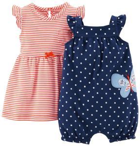 Carter's Baby Girls' 2 Piece Dress & Romper Set (Baby) - Navy