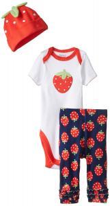 Gerber Baby-Girls Newborn 3 Piece Sets Strawberry Bodysuit Cap and Leggings