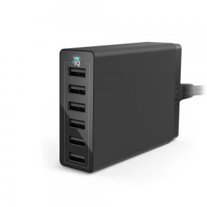 Anker® 60W 6-Port Family-Sized Desktop USB Charger with PowerIQ Technology for iPhone, iPad, Samsung S6 / S6 Edge, Nexus, HTC M9, Nokia, Motorola and More(Black)
