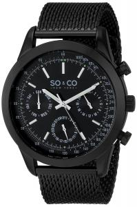 Đồng hồ nam SO&CO New York Men's 5006.3 Monticello Quartz Day and Date Tachymeter Stainless Steel Mesh Black Watch