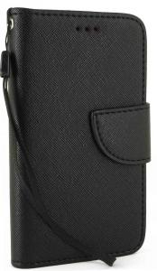LG Realm case, Premium Slim and Durable PU Leather Wallet Flip Case Cover Stand with Card Holder and Strap for LG Realm LS620 (Black)