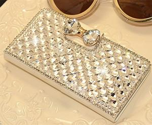White Luxury 3D Fashion Bling Diamond Bow Bone PU Flip Wallet Leather Case Cover For Smart Mobile Phones (LG OPTIMUS W70 OPTIMUS EXCEED 2 / L70 D320 D320N Dual D325, White)