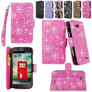 Cellularvilla Wallet Case for Lg Optimus L70 (Metropcs) Ms323 / Optimus Exceed Ii (Verizon) Vs450 / Dual D325 Pu Leather Shiny Glitter Wallet Card Flip Open Pocket Case Cover Pouch (Pink Glitter)