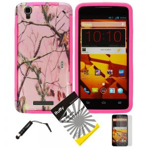 3 items Combo: ITUFFY (TM) LCD Screen Protector Film + Mini Stylus Pen + Design Wrap-Up Cover Faceplate Skin Phone Case for ZTE BOOST MAX N9520 (Boost Mobile) (Pink Tree Camouflage - Pink)