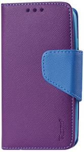Reiko Wallet Case 3-In-1 for LG L70/LG Realm LS620 Interior Leather-Like Material and Polymer Cover - Retail Packaging - Purple/Blue