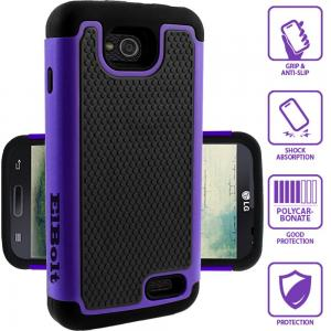 ElBolt LG Optimus L70 / Optimus Exceed II W7 / Realm LS620 / VS450 / D325 (MetroPCS/Verizon/Boost) Silicon Dual Layer Armor Protective Case Cover Skin - Purple with ElBolt Premium Screen Protector by ElBolt TM