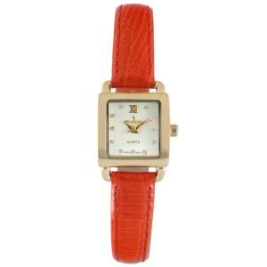 Peugeot 3034rd Ladies Mini Square Crystal Gold-tone Dial Blood Orange Red Leather Watch