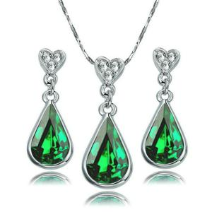 [Love of Crystal] Yoursfs 18k Gold Plated Austrian Crystal Teardrop Gemstone Necklace and Earring Jewelry Set Mother's Day Gift