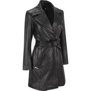 Wilsons Leather Womens Leather Belted Maxi W/ Notch Collar Stitching Detail