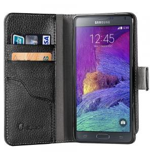 Galaxy Note 4 Case, i-Blason Slim Leather Wallet Book Cover with Stand Feature and Credit Card ID Holders For Samsung Galaxy Note 4 [SM-N910S / SM-N910C] (Black)