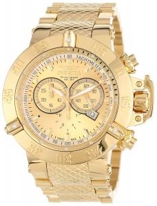 Đồng hồ nam Invicta Men's 14500 Subaqua Noma III Chronograph Gold Dial 18k Gold Ion-Plated Stainless Steel Watch