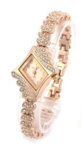 shot-in Brand New Lady Women Quartz Rhinestone Crystal Wrist Watch Rhombus gold surface