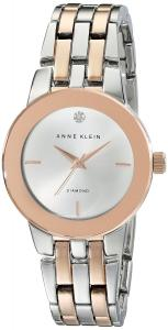Anne Klein Women's AK/1931SVRT Diamond-Accented Dial Silver-Tone and Rose Gold-Tone Bracelet Watch