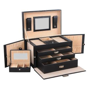 Songmics Black Leather Jewelry Box Lockable Jewelry Case with Mirror and Storage Drawers UJBC003