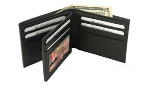 Genuine Leather RFID Blocking Secure Wallet (Black - Bi-Fold - 10 Slots) - by Identity Stronghold