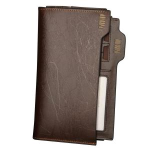 Pabojoe Men's Leather Gold Sand Wallet Removable Flipout Plug Card Setting-with Key Chain