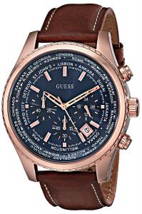 GUESS Men's U0500G1 Rose Gold-Tone Stainless Steel Watch with Honey Brown Leather Band