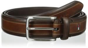 Tommy Hilfiger Men's Big-Tall Two Tone Dress Belt With Brushed Nickel Buckle