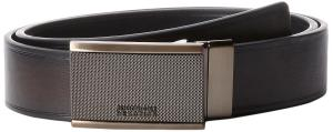 Kenneth Cole REACTION Men's Reversible Belt with Heatcrease and Matte Black Plaque Buckle