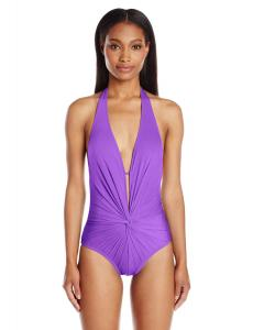 Kenneth Cole New York Women's Strappy Hour Punge Twist One Piece Swimsuit