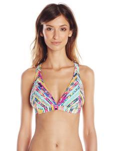 Jessica Simpson Women's Totem X-Back Full Support Triangle Bra Bikini