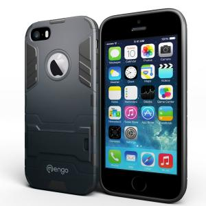 iPhone 5S Case, Mengo Bionic [Ultra Slim] Shockproof iPhone 5/5S Case with Built-in Kickstand and Matte Screen Protector (Midnight)