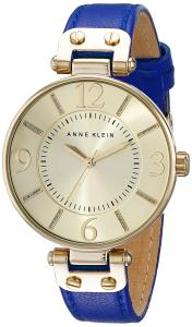 Anne Klein Women's 10/9168CHCB Gold-Tone and Cobalt Blue Leather Strap Watch