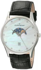 Claude Bernard Men's 79010 3 NAN Classic Gents Moon Phase Analog Display Swiss Quartz Black Watch