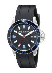Stuhrling Original Men's 706.01 Aquadiver Regatta Quartz Date Rubber Strap Black Watch