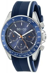 SO&CO New York Men's 5010R.1 Monticello Day and Date Tachymeter Watch with Blue Rubber Band