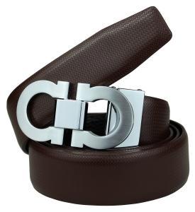 Bullk0 Men's Smooth Leather Buckle Belt