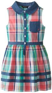 Nautica Little Girls' Plaid Dress with Chambray Details