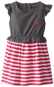 U.S. POLO ASSN. Little Girls' Chambray Denim and Jersey Dress