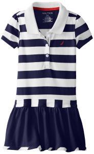 Nautica Little Girls' Stripe Pique Dress with Flat Knit Collar