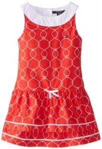 Nautica Little Girls' Rope and Anchor Print Dress with Double Tier Skirt