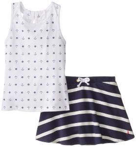 Nautica Little Girls' Printed Anchor Dot Tank Top with French Terry Skort