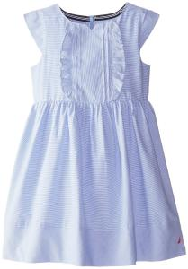 Nautica Little Girls' Mini Pinstripe Dress with Cap Sleeves