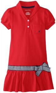 Nautica Little Girls' Shawl Collar Pique Dress