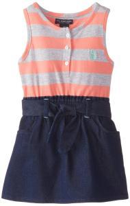 U.S. POLO ASSN. Little Girls' Jersey Top and Denim Bottom Dress
