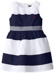 Nautica Little Girls' Color-Block Poplin Dress with Scalloped Front Yoke