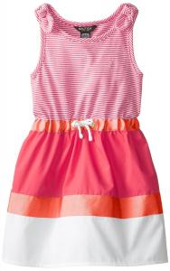 Nautica Little Girls' Mini Stripe Tank Dress with Woven Color-Block Skirt