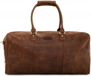 "LEABAGS - Unisex Leather Travel Weekender Holdall Sports Bag ""Tokio"" Vintage Style made of Genuine Buffalo Leather"